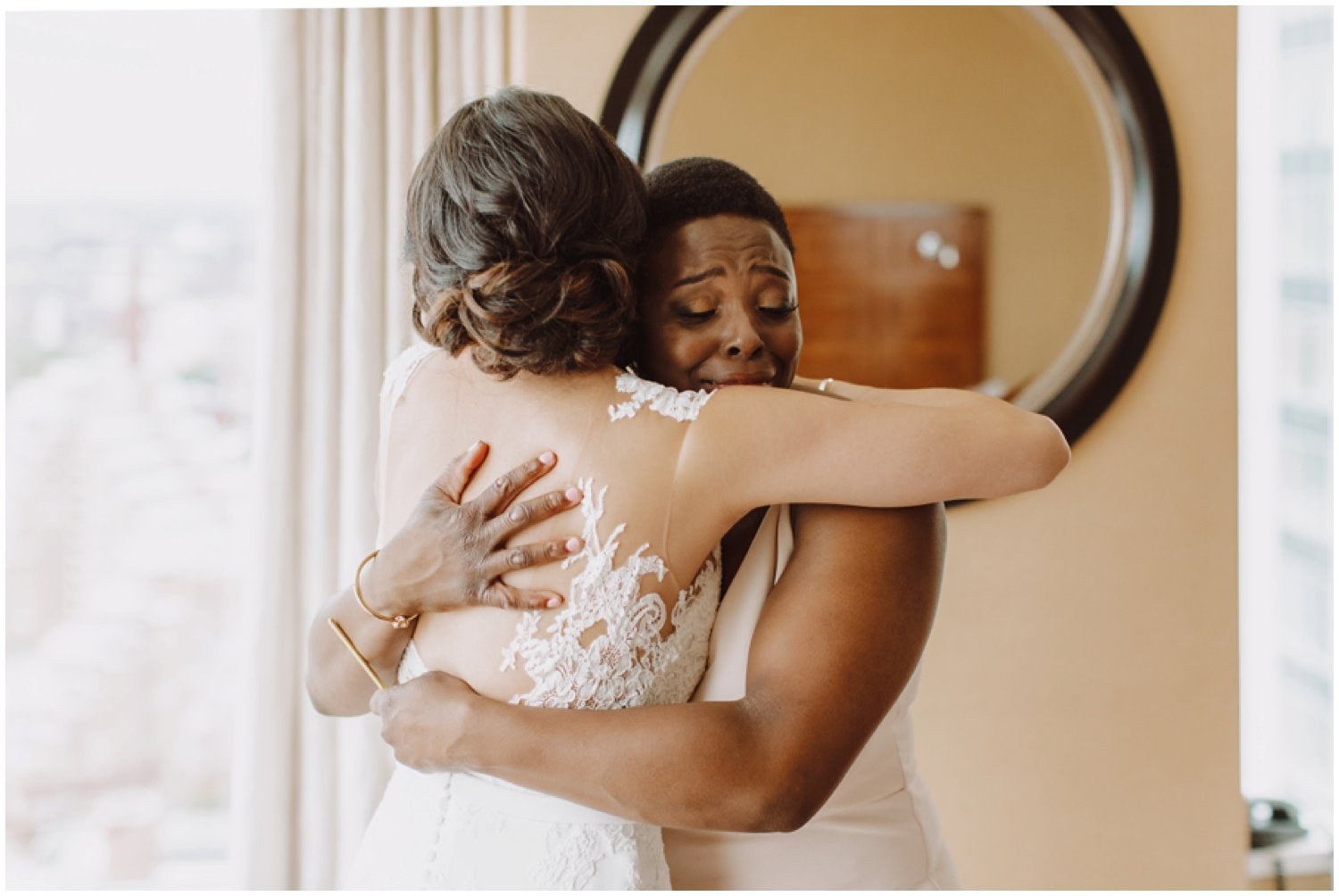 Baltimore wedding photographer | bridal getting ready portraits | emotional bridesmaids first look | Baltimore Maryland wedding
