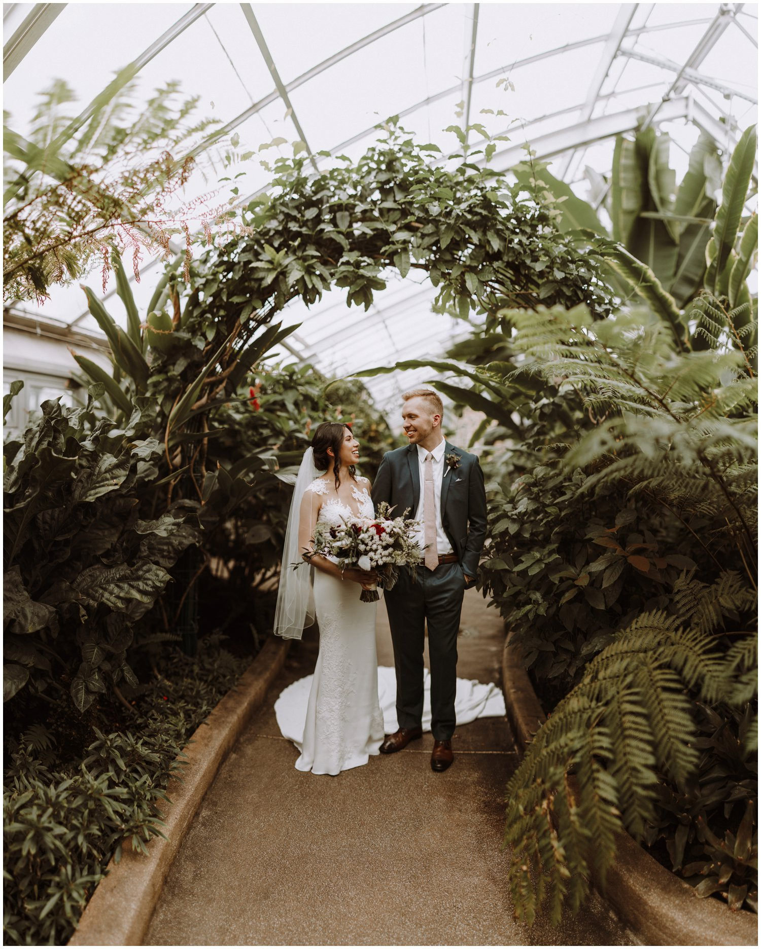Baltimore wedding photographer | bride and groom greenhouse portraits | greenhouse wedding | Rawlings conservatory wedding