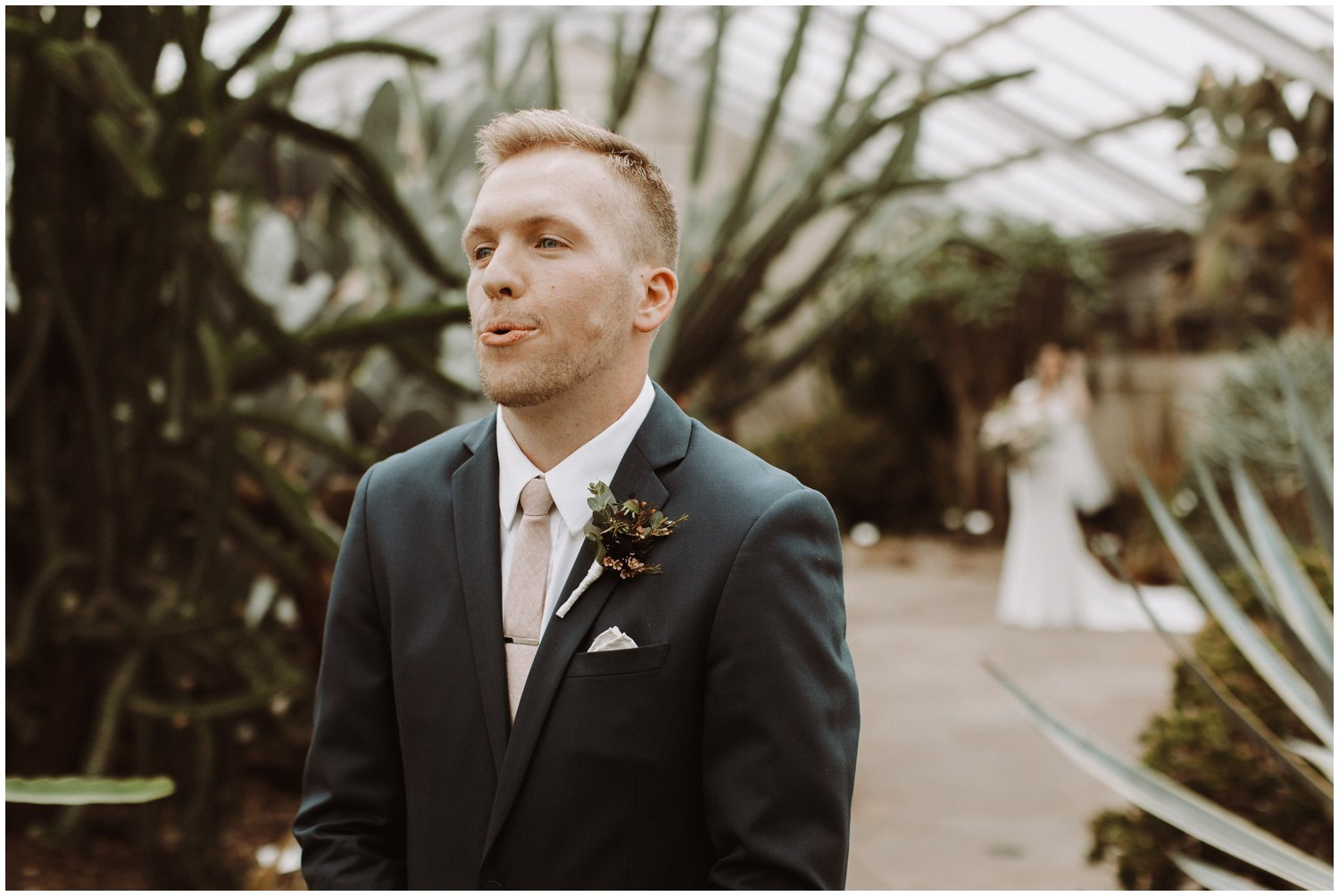 Baltimore wedding photographer   bride and groom first look   greenhouse wedding   Rawlings conservatory wedding