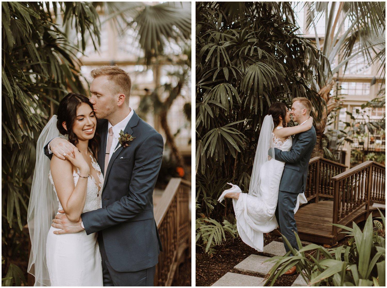 Baltimore wedding photographer   bride and groom greenhouse portraits   greenhouse wedding   Rawlings conservatory wedding