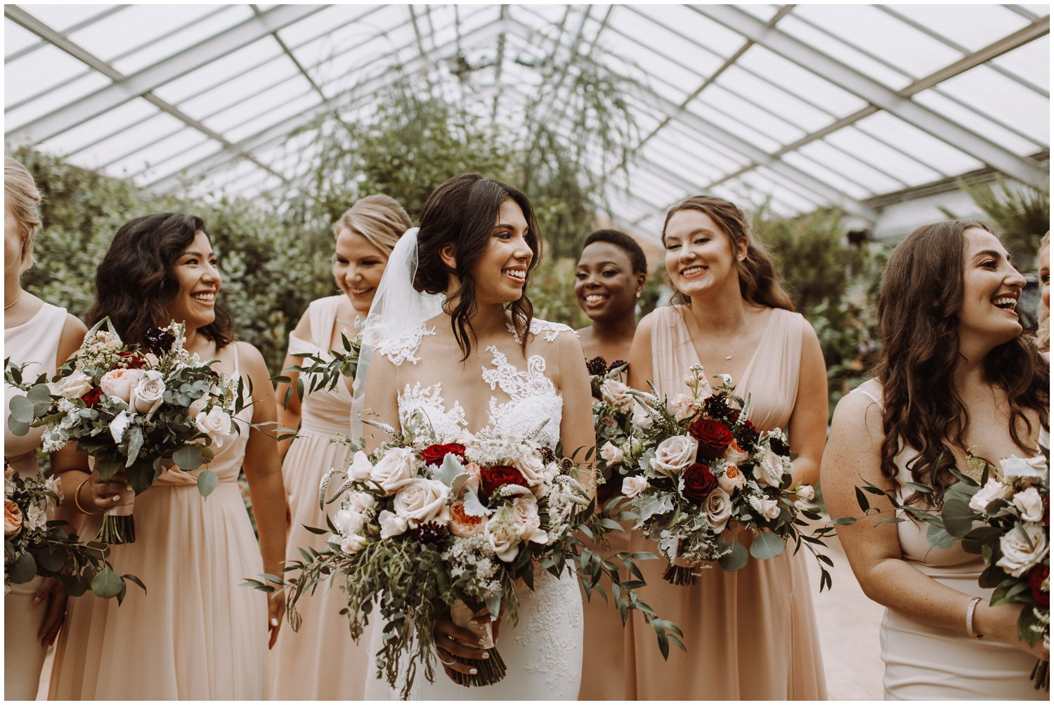 Baltimore wedding photographer | bridal party greenhouse portraits | greenhouse wedding | Rawlings conservatory wedding