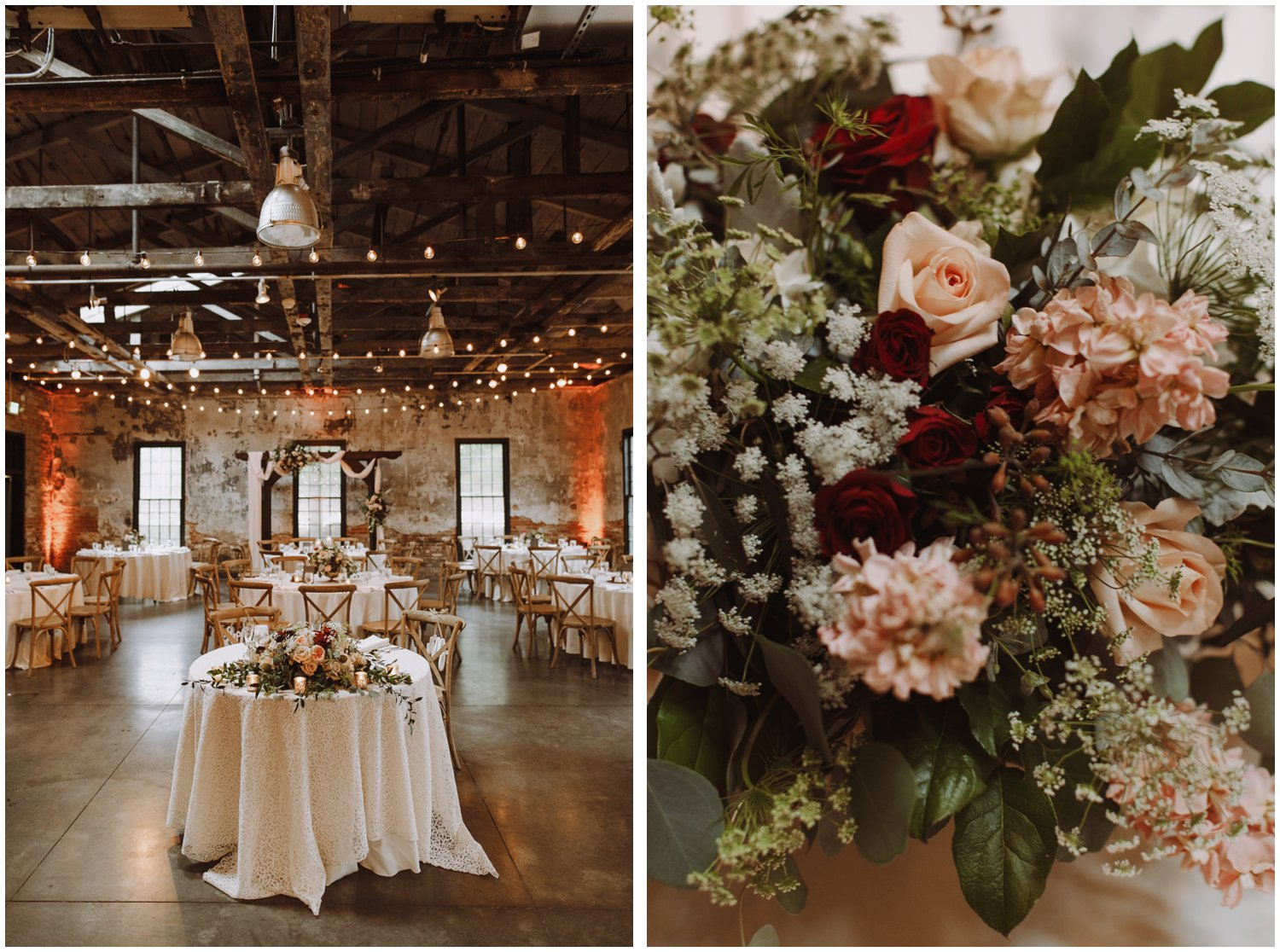 Baltimore wedding photographer | Mt Washington Mill Dye House wedding reception | floral wedding centerpiece | Baltimore Maryland wedding
