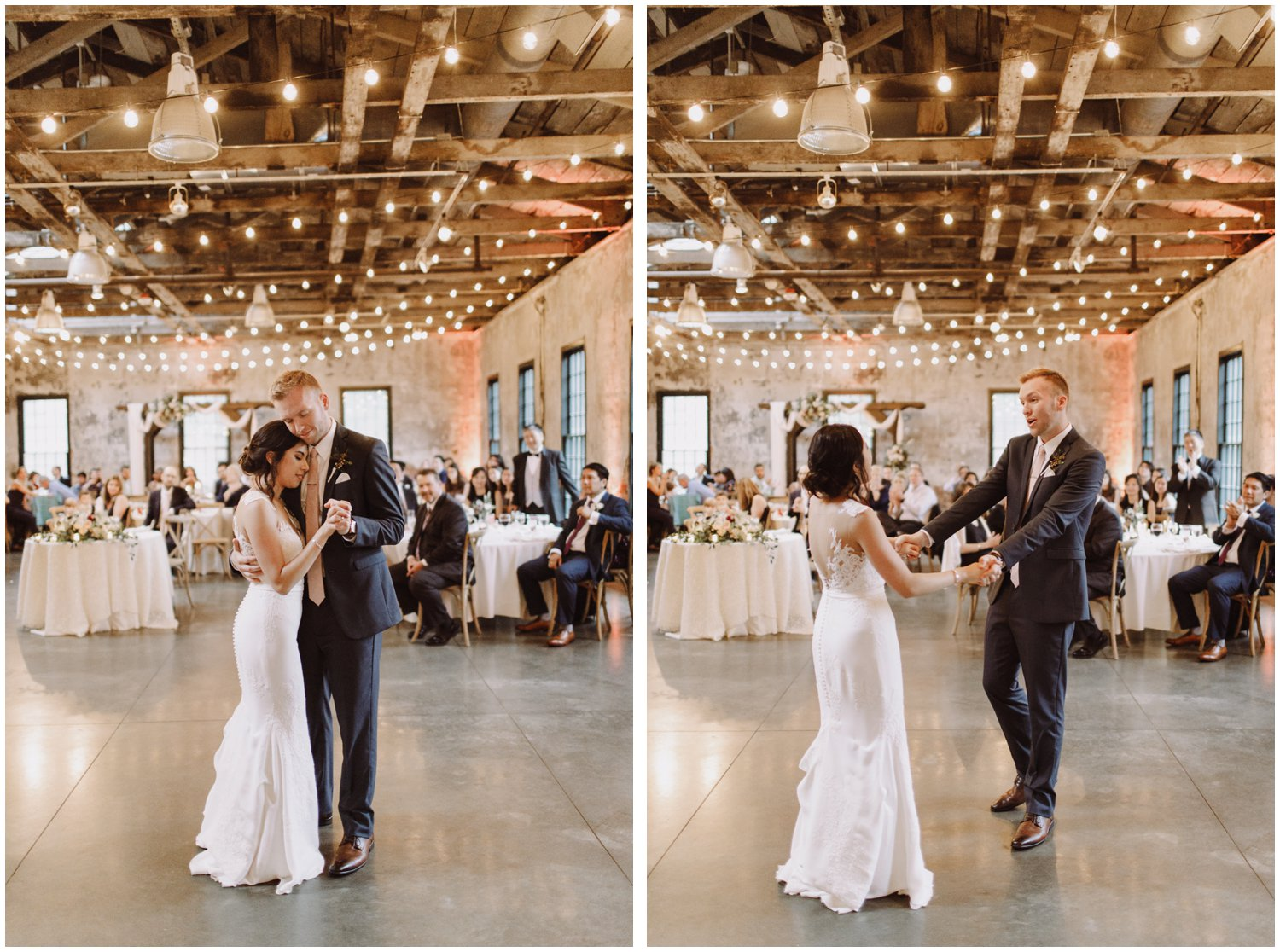 Baltimore wedding photographer | Mt Washington Mill Dye House wedding reception | bride and groom first dance | Baltimore Maryland wedding
