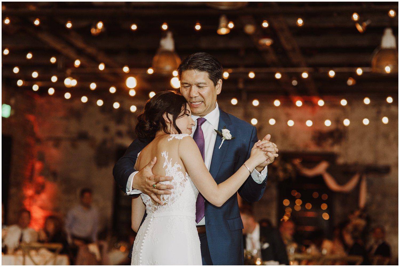 Baltimore wedding photographer   Mt Washington Mill Dye House wedding reception   father and bride dance   Baltimore Maryland wedding