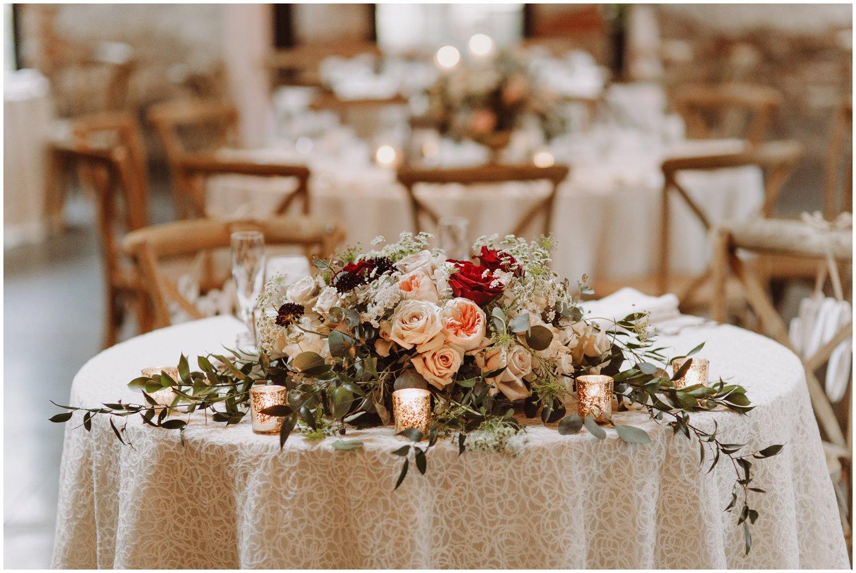 Baltimore wedding photographer   Mt Washington Mill Dye House wedding reception   floral wedding centerpiece   Baltimore Maryland wedding