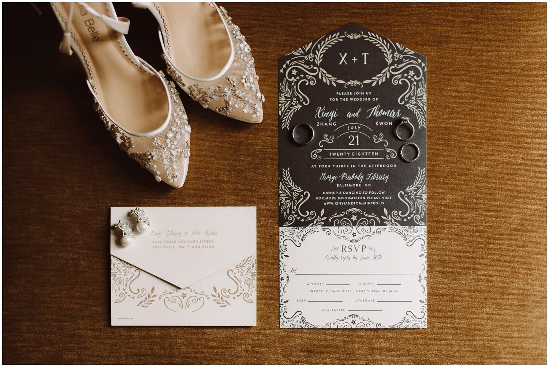 Peabody Library Wedding | Hotel Revival Baltimore Wedding | Art Deco Wedding details | Baltimore City Wedding | Kate Ann Photography | Art Deco Wedding Invitations