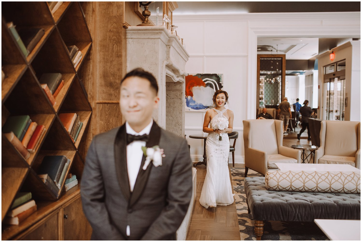 Peabody Library Wedding | Hotel Revival Baltimore Wedding | Art Deco Wedding | Baltimore City Wedding | Kate Ann Photography | Bride and Groom first look