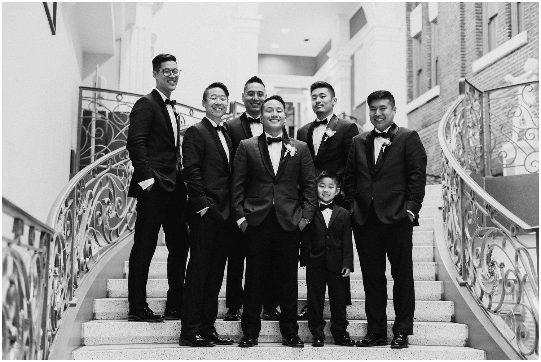 Peabody Library Groomsmen Portraits | Baltimore Wedding Photographer | Art Deco Wedding Photography | Baltimore City Wedding | Kate Ann Photography