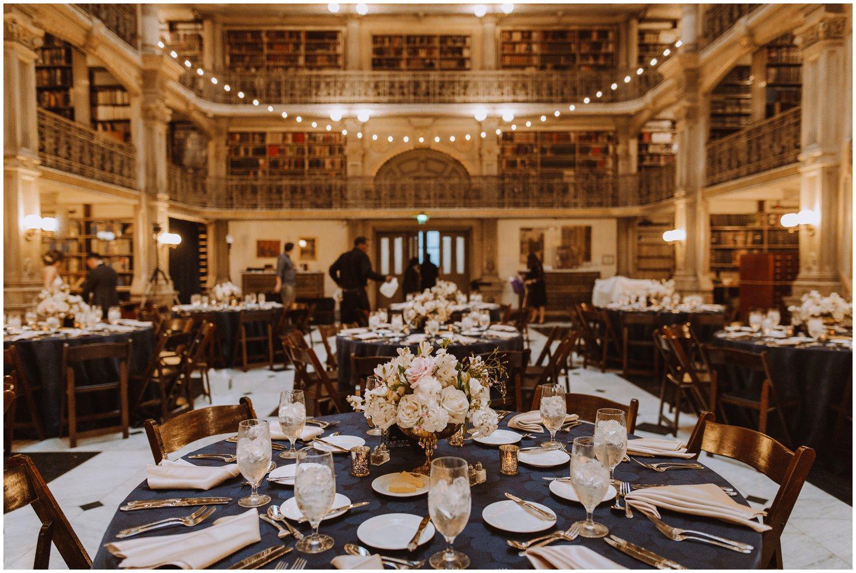 Peabody Library Wedding reception details | Baltimore Wedding Photographer | Art Deco Wedding Photography | Baltimore City Wedding | Kate Ann Photography