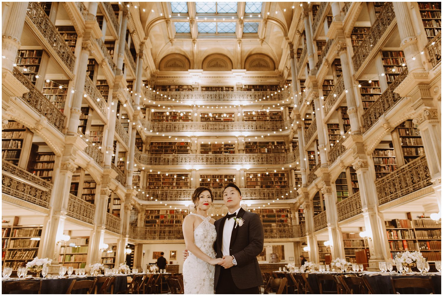 Peabody Library Wedding | Bride and Groom Peabody Library Portraits | Baltimore Wedding Photographer | Art Deco Wedding Photography | Baltimore City Wedding | Kate Ann Photography