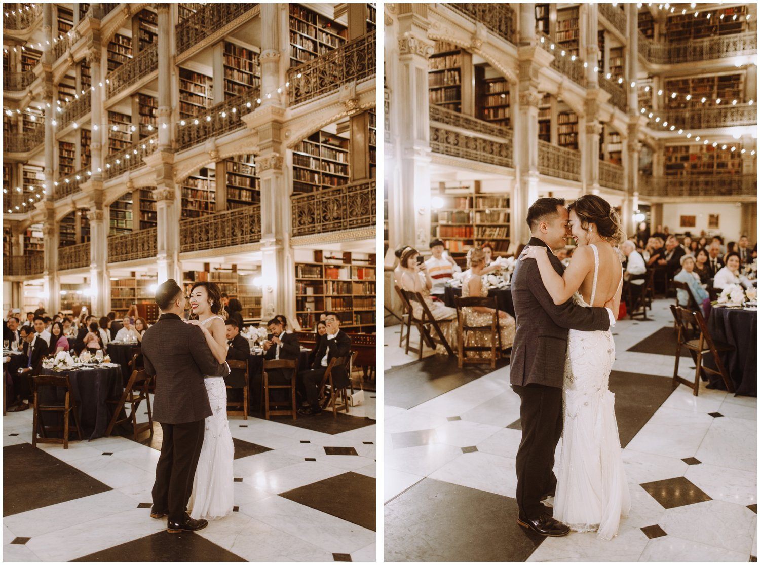Peabody Library Wedding | Bride and Groom First Dance | Baltimore Wedding Photographer | Art Deco Wedding Photography | Baltimore City Wedding | Kate Ann Photography