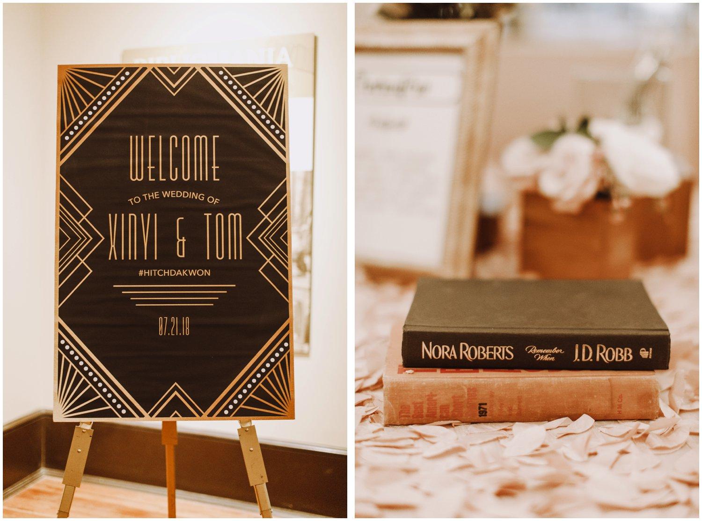 Peabody Library Wedding reception details | Baltimore Wedding Photographer | Art Deco Wedding Photography | Art Deco Wedding Details | Baltimore City Wedding | Kate Ann Photography