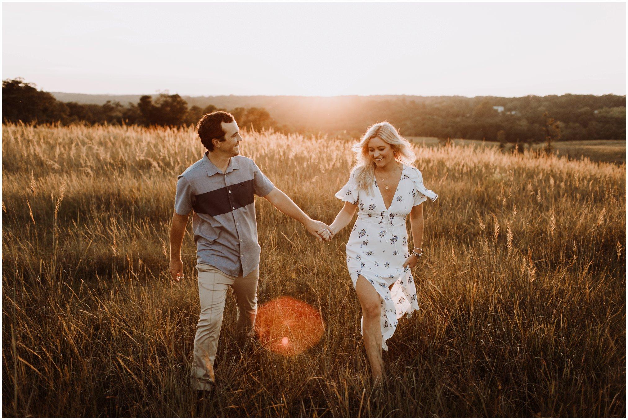 golden field nature engagement session | Annapolis wedding photographer | sunset engagement photos | golden hour