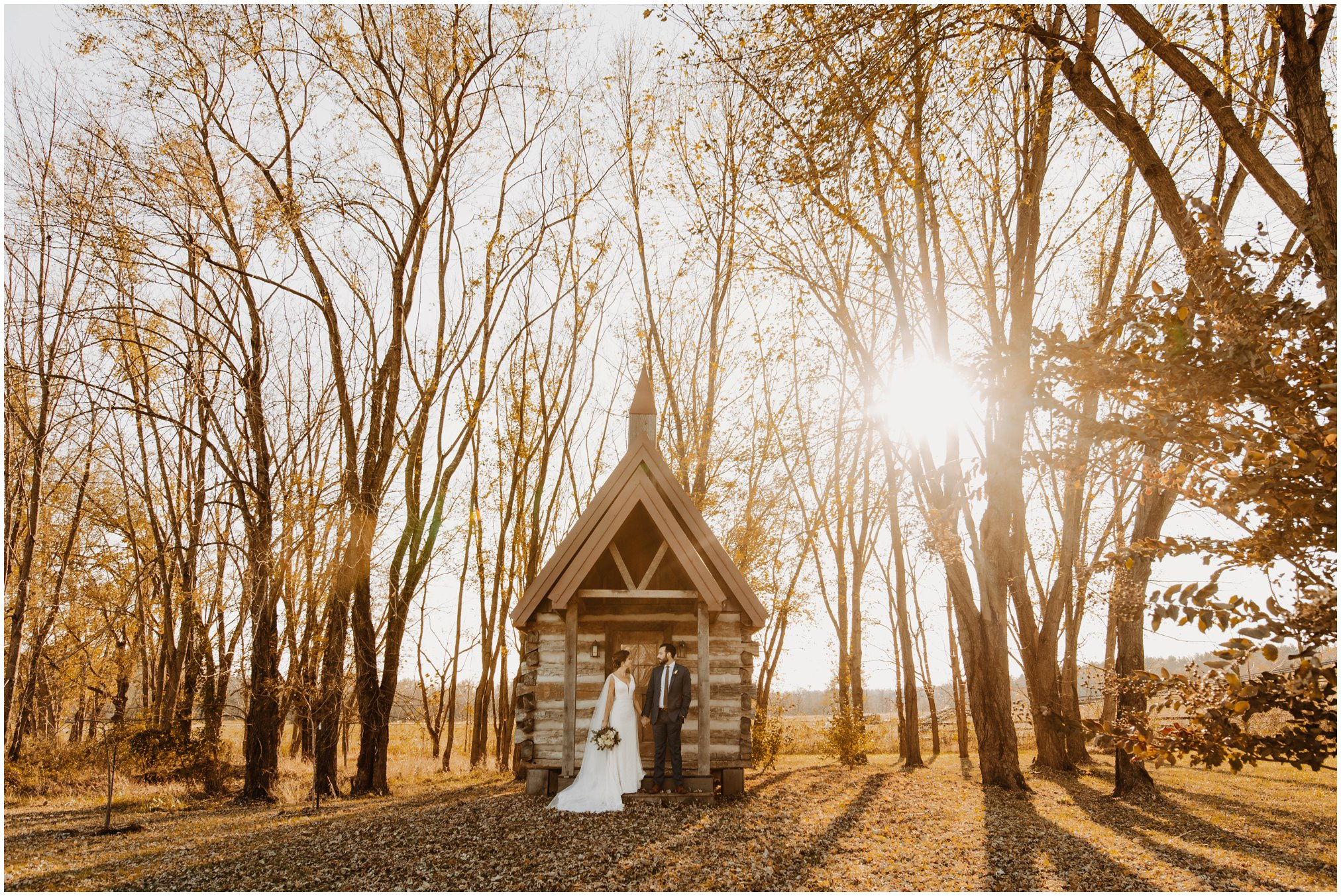 Sunset wedding pictures at cabin