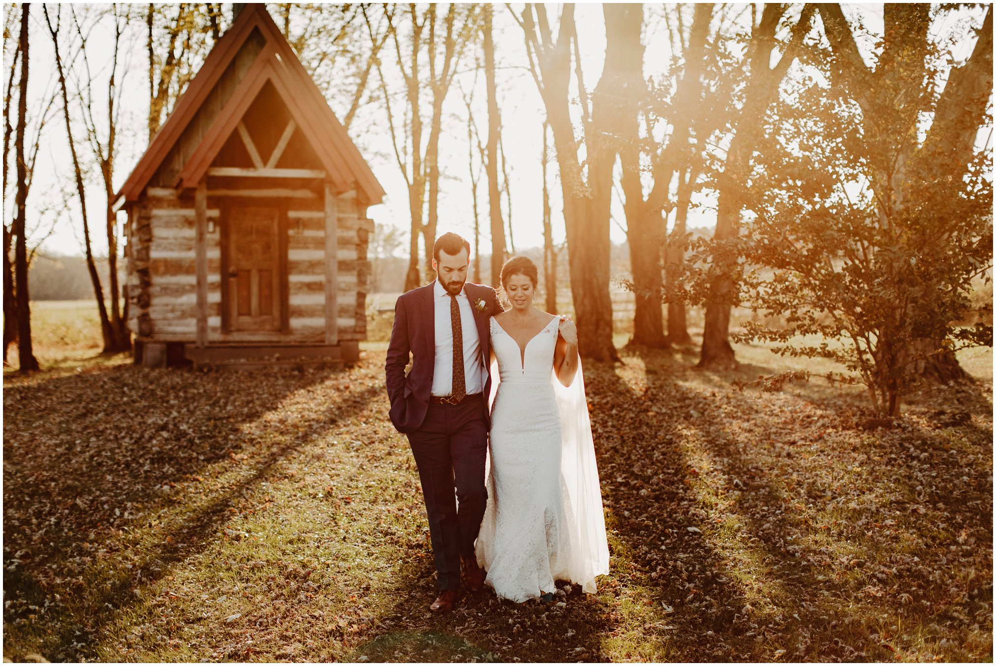 Sunset wedding pictures with cabin