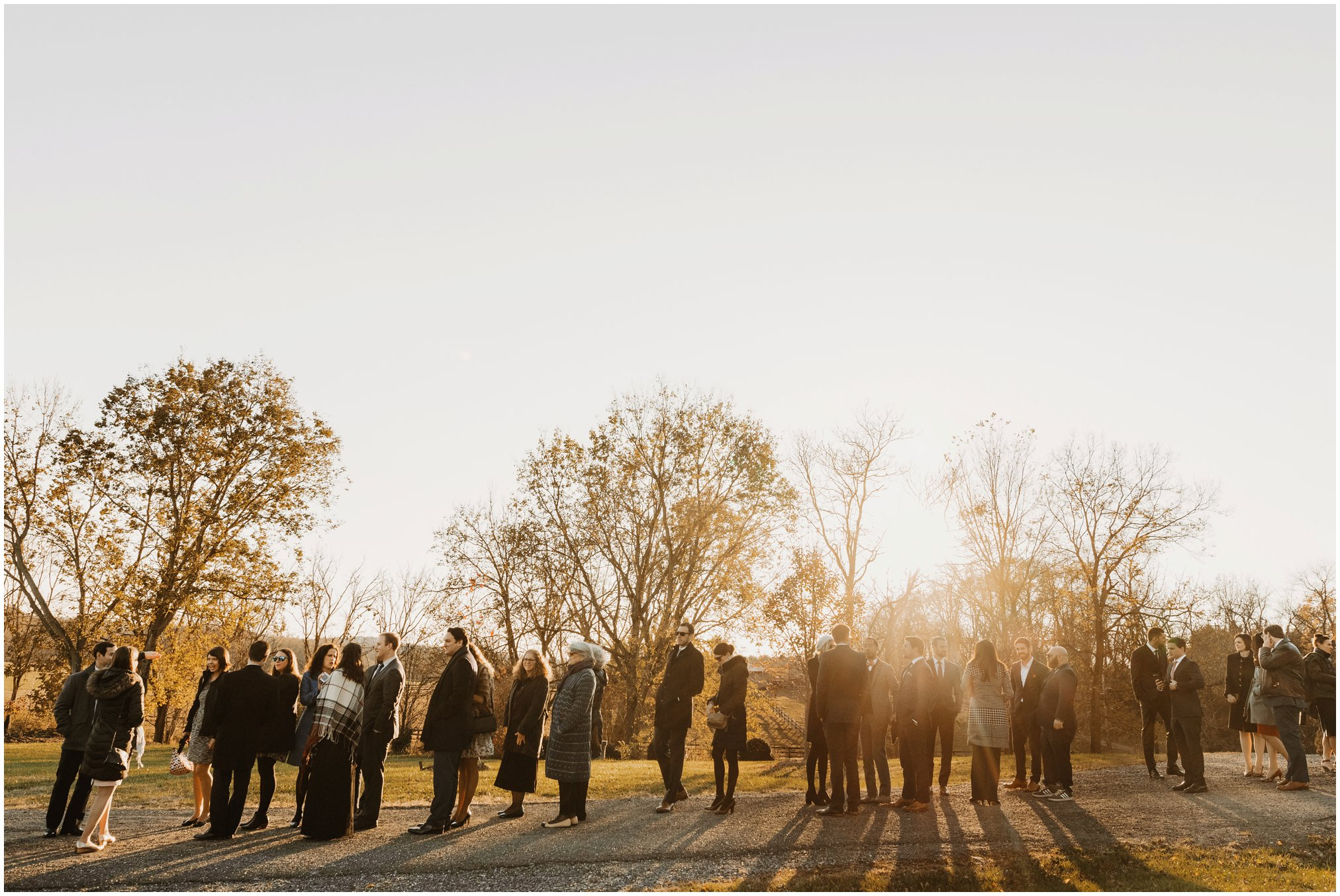 Fall Sunset wedding ceremony outdoors