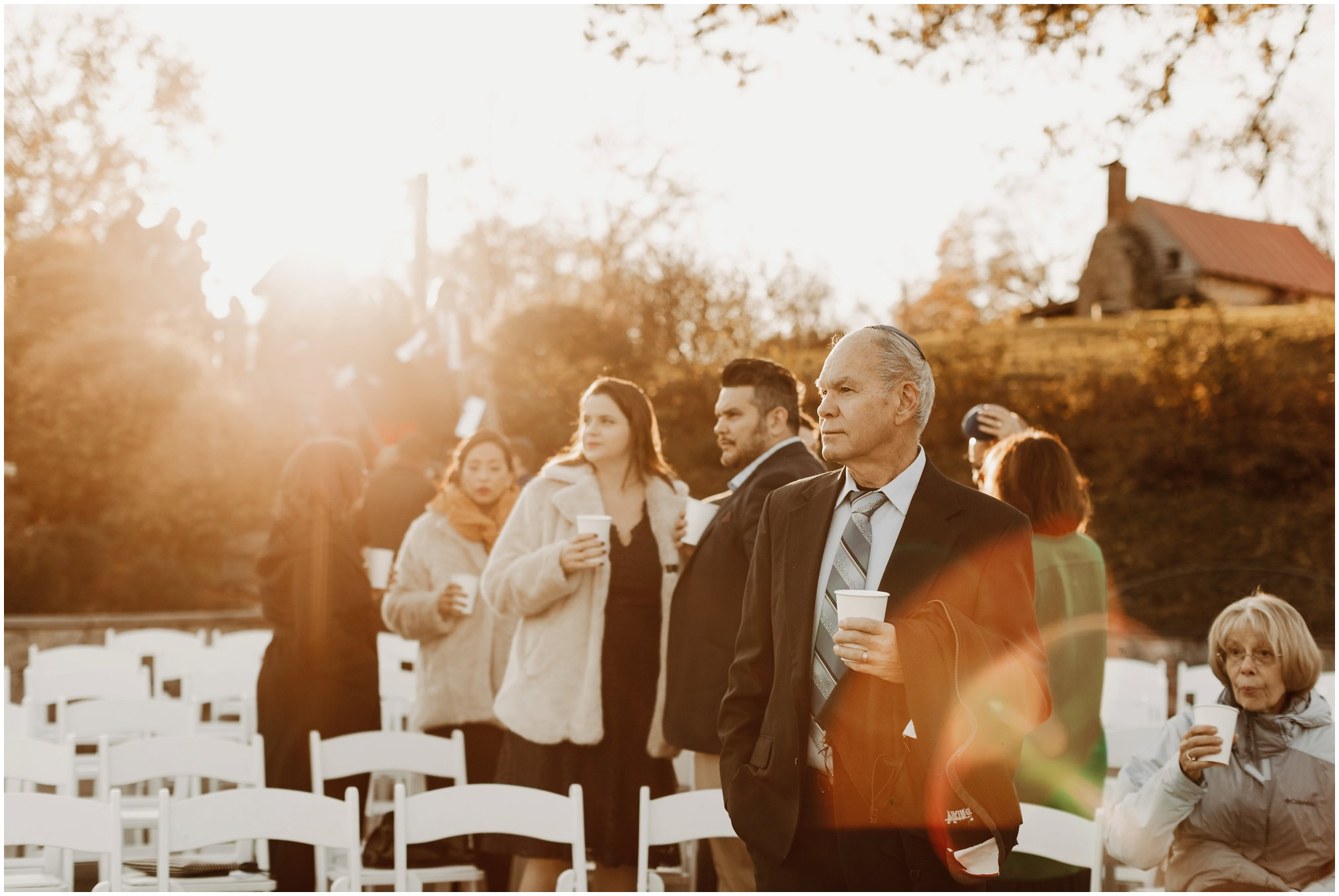 Outdoor fall wedding at sunset