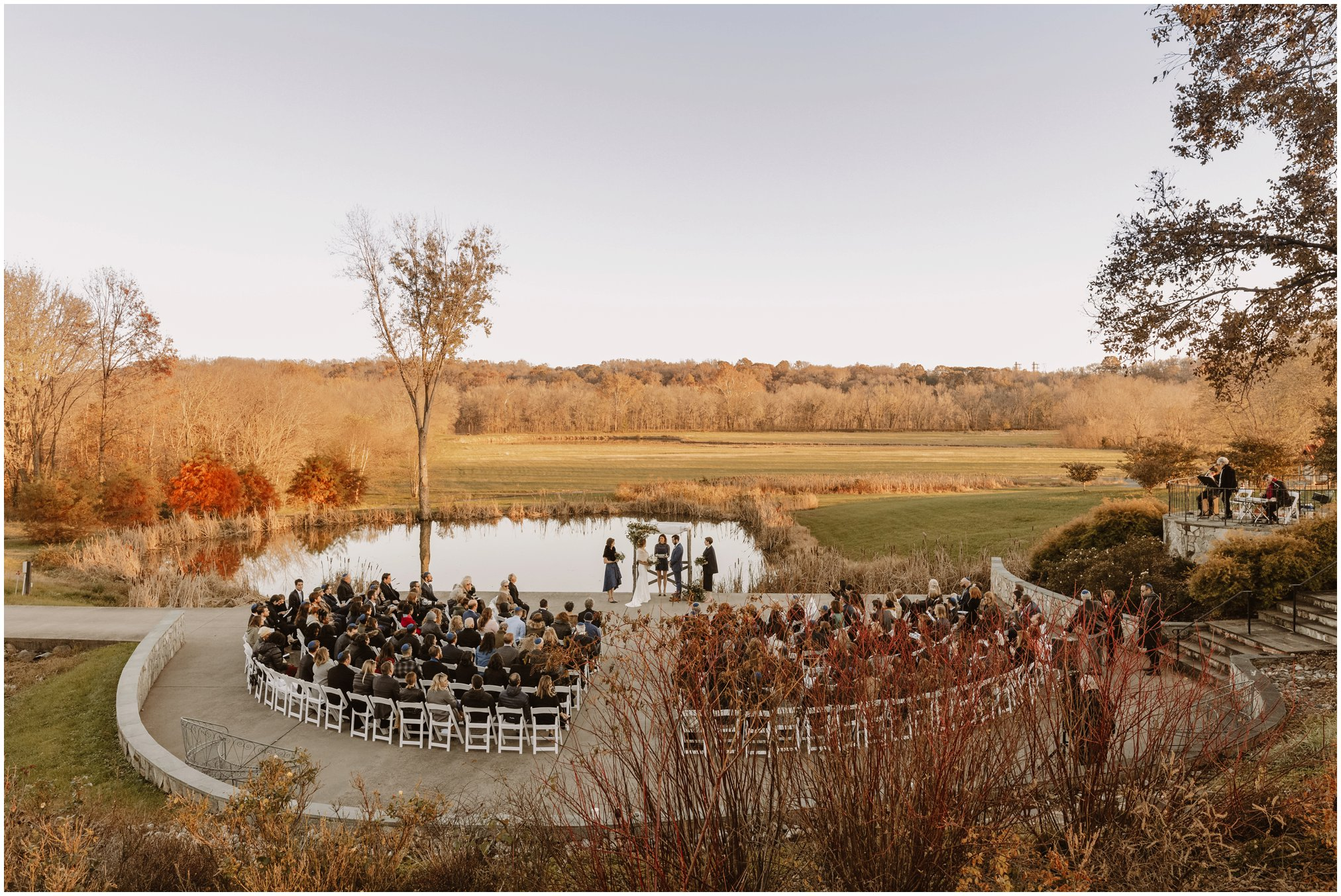 Aerial view of Outdoor fall wedding