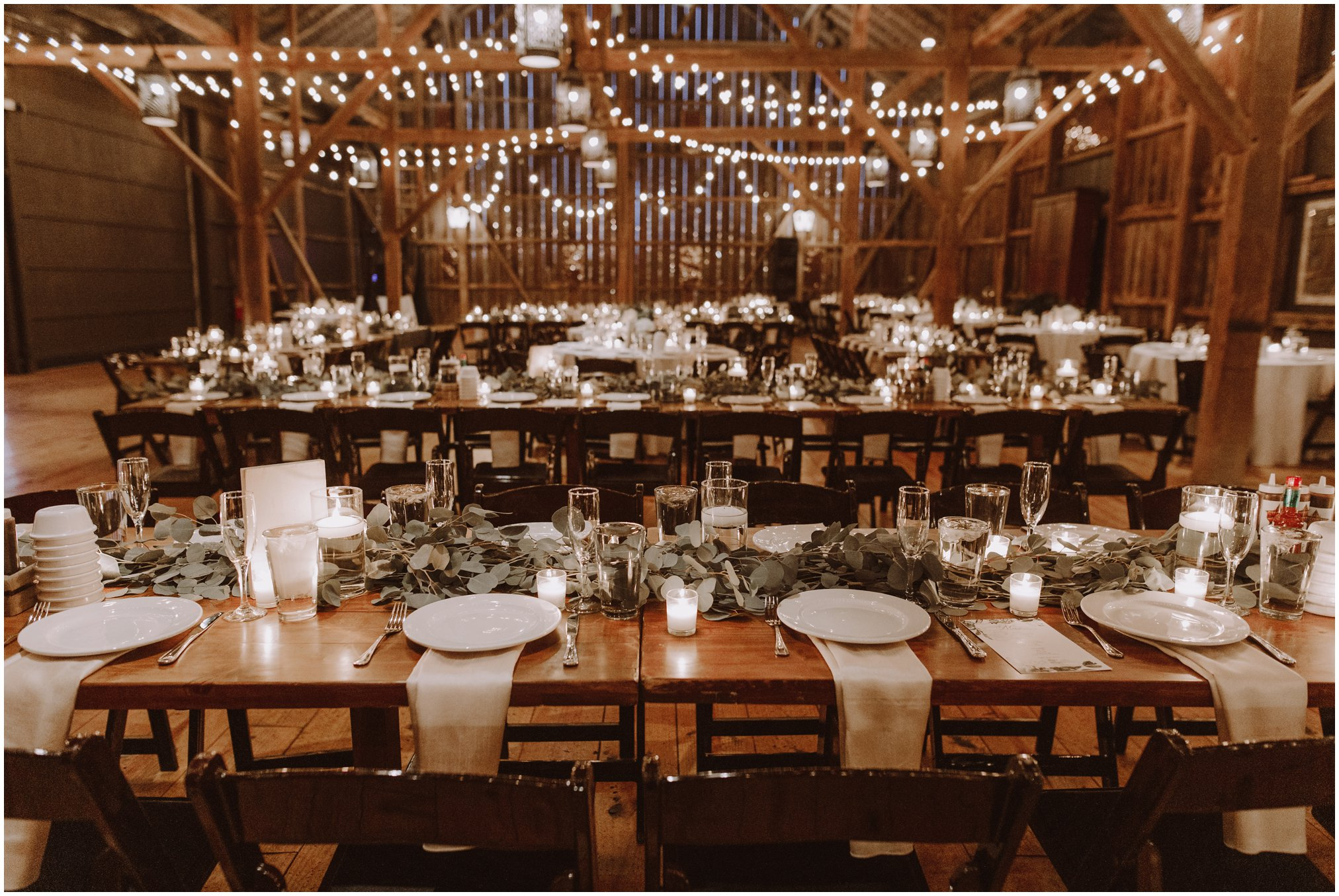 modern wedding reception decorations with string lights