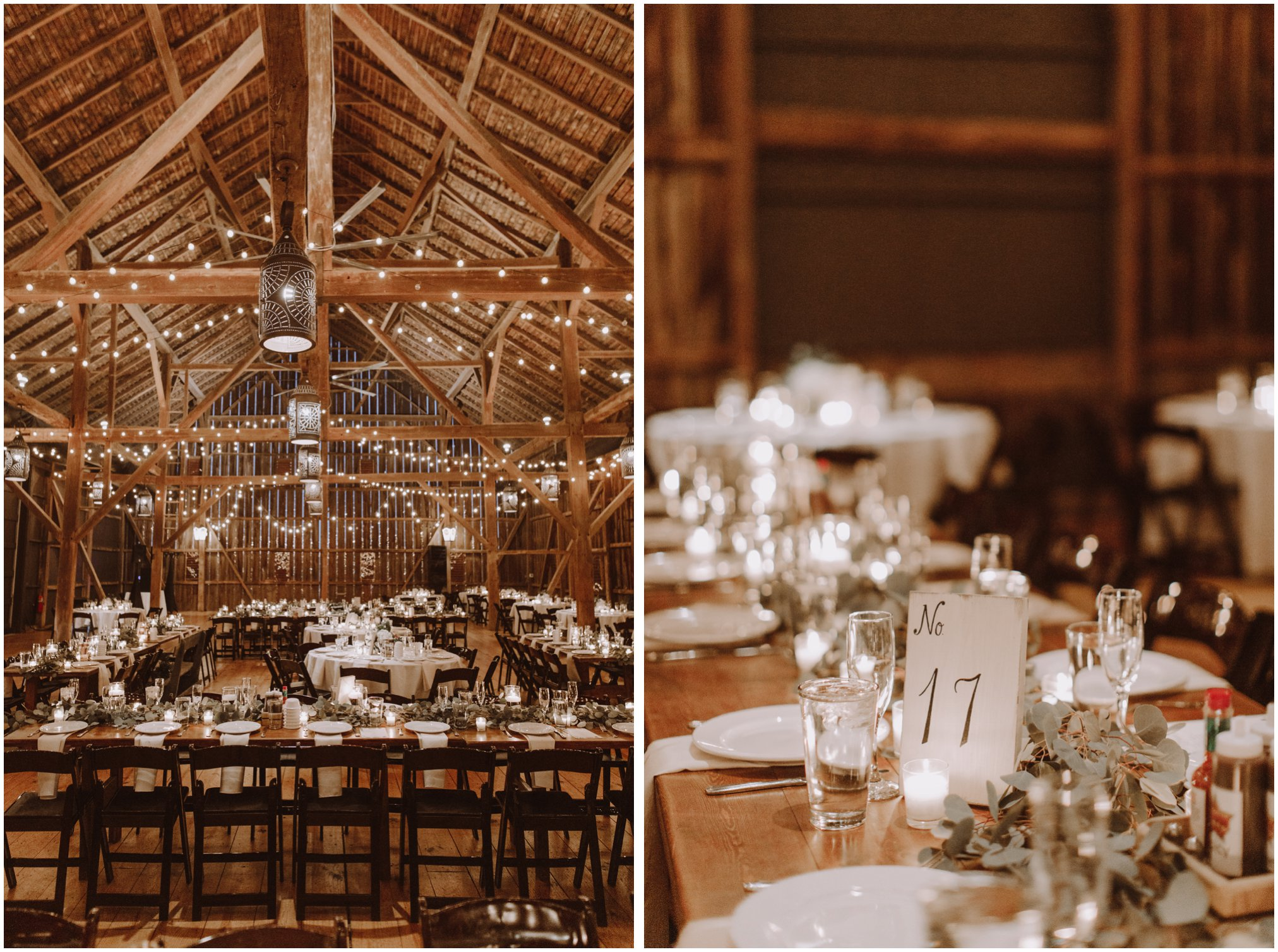 barn wedding reception at riverside on the potomac with string lights