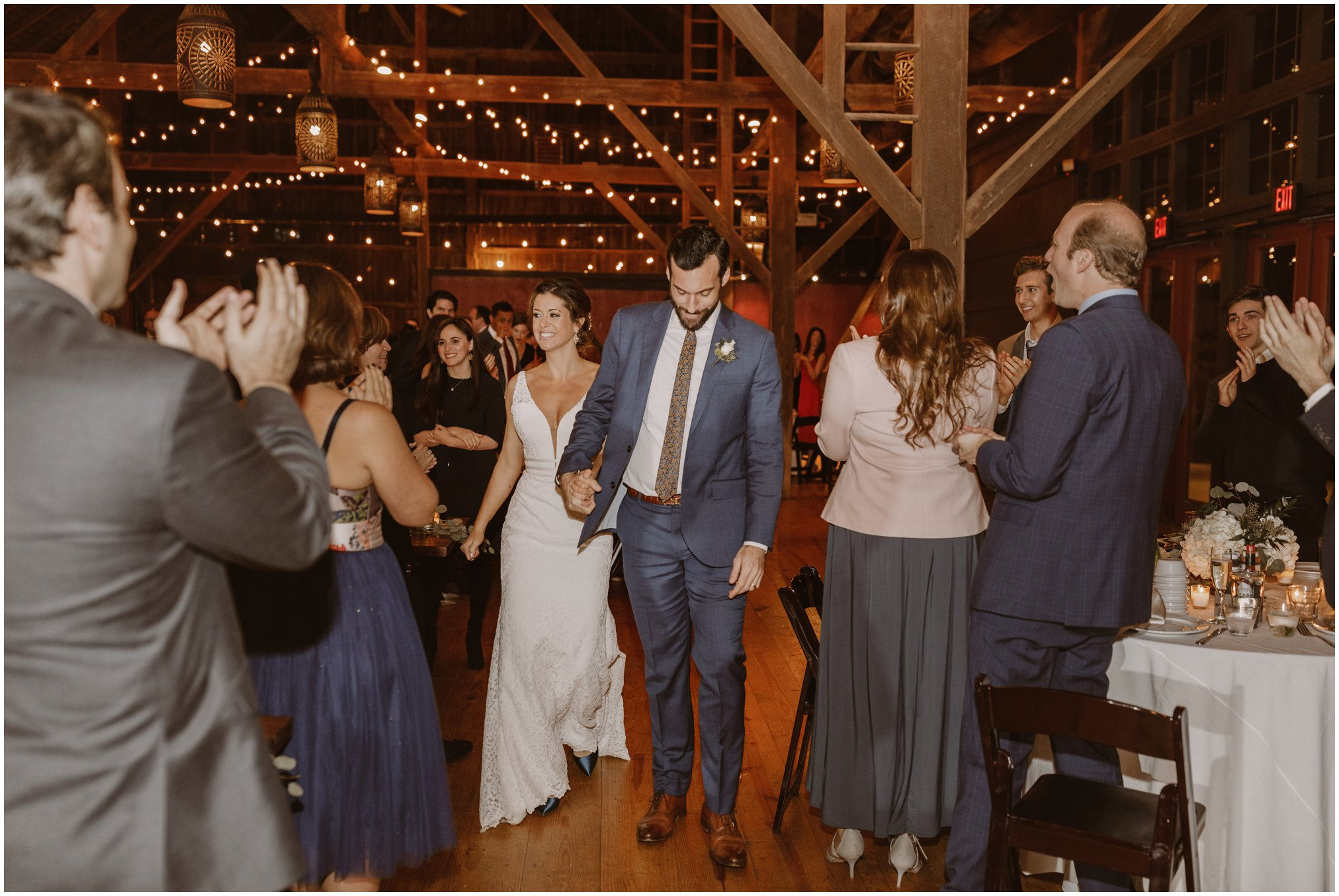 Riverside on the Potomac wedding barn reception with string lights