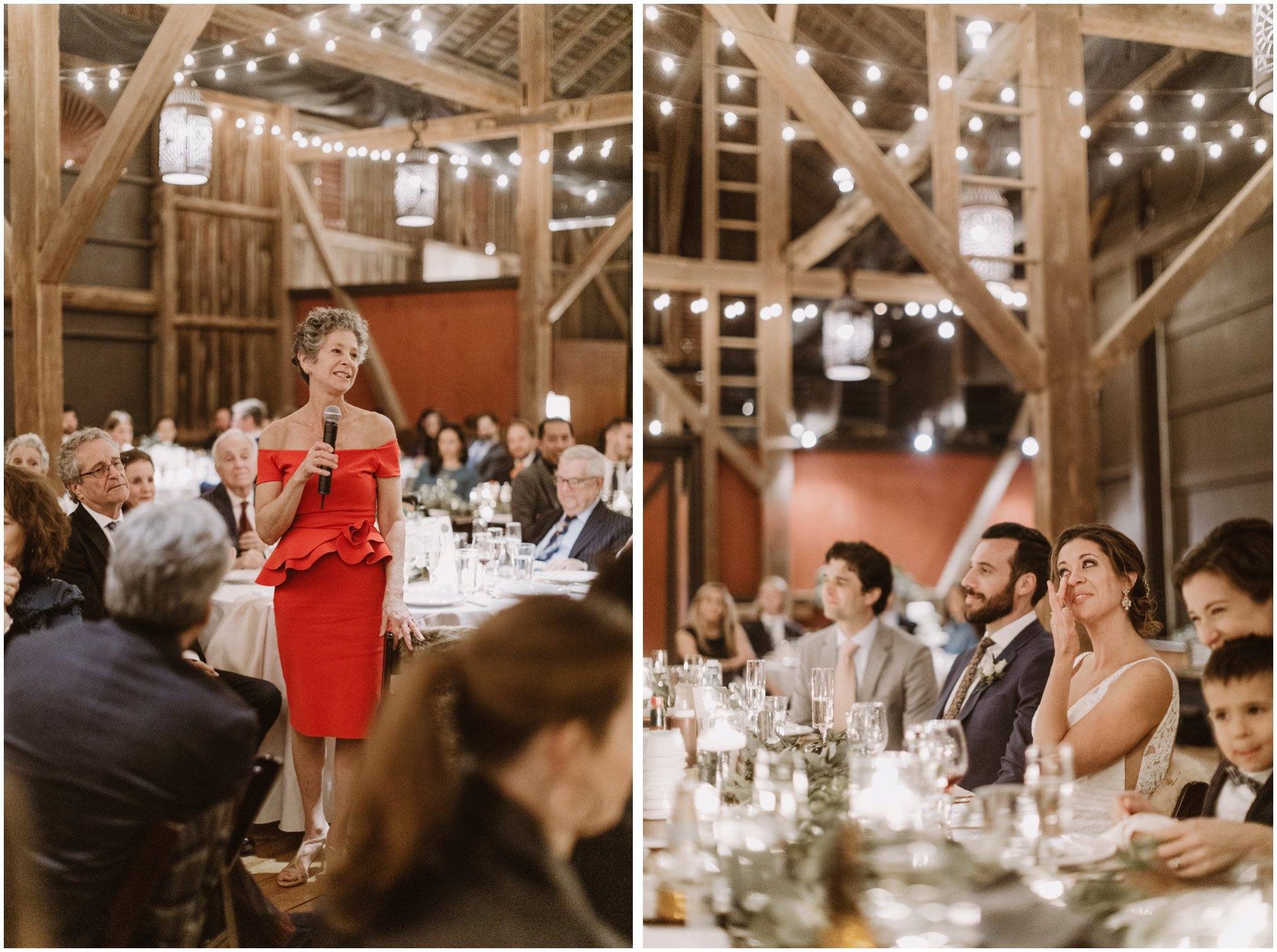 Fall wedding reception in barn with string lights