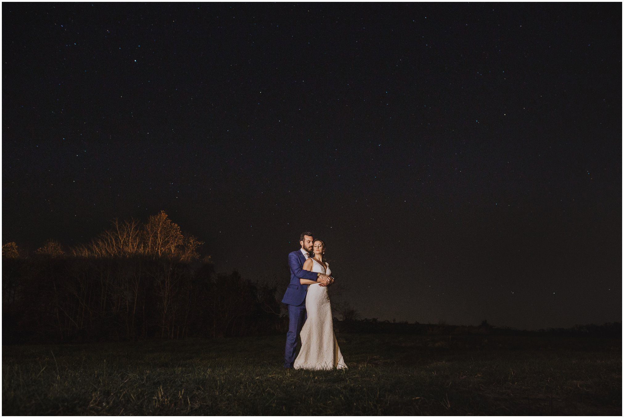 Night time wedding pictures under the stars