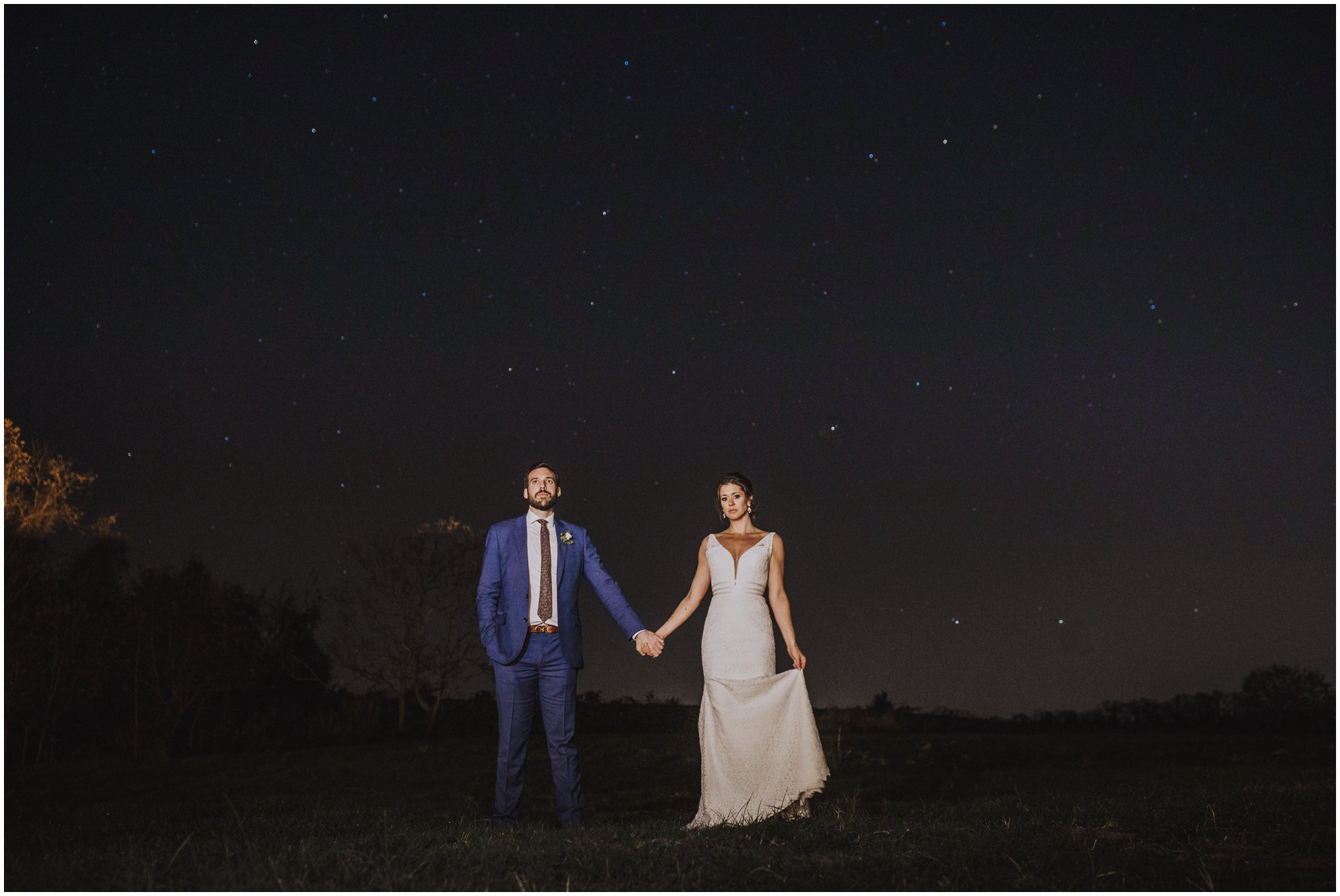Night Time wedding pictures with stars in the sky