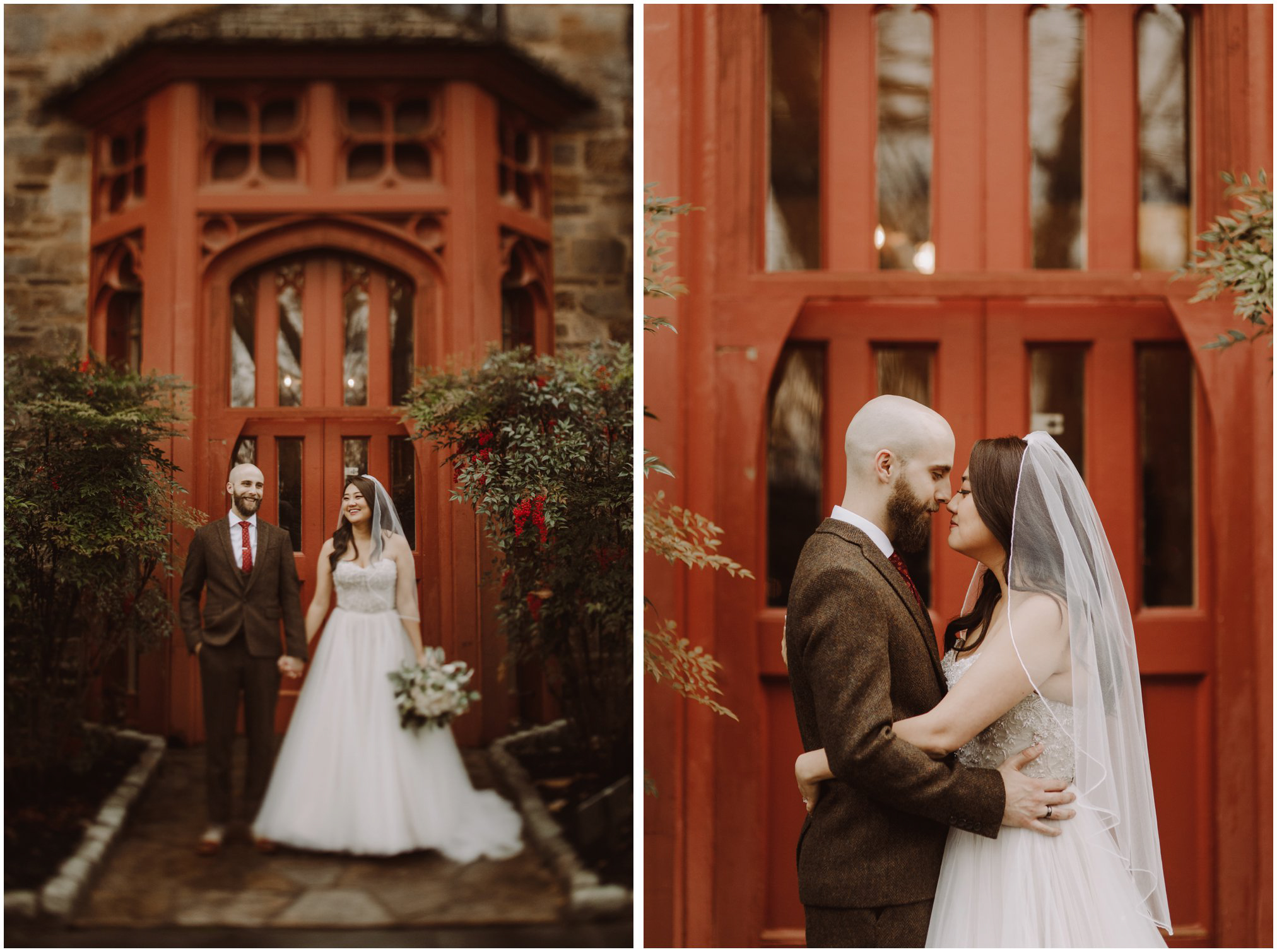 Winter Wedding at Cloisters Castle Bride and Groom Pictures