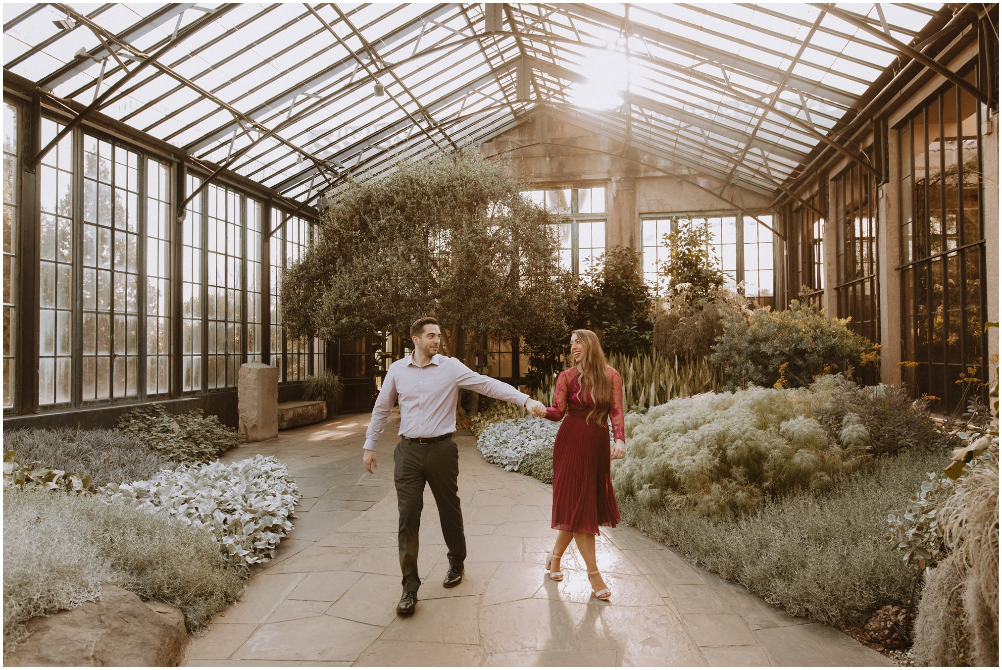 Sunset Engagement Pictures in Greenhouse