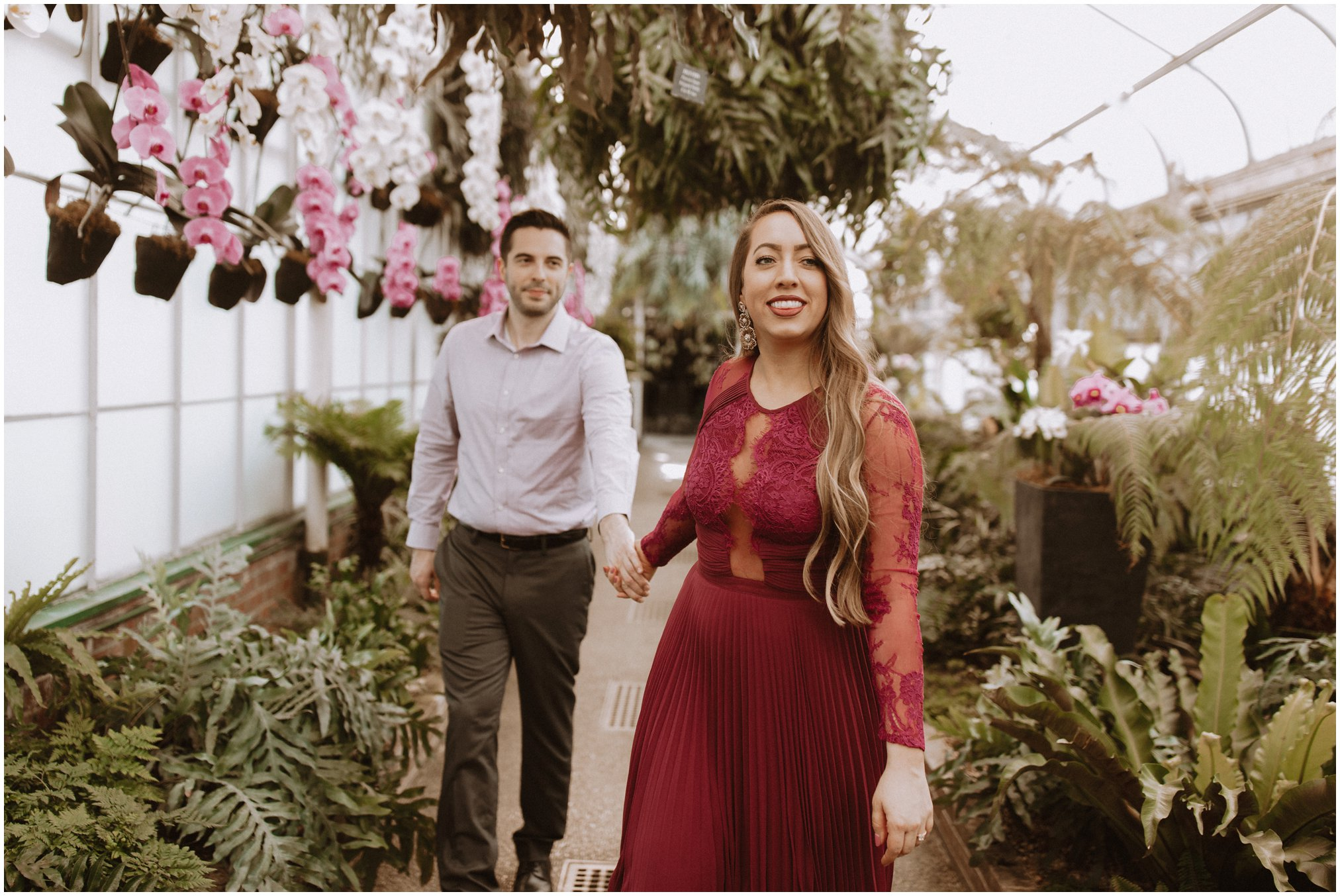 Golden Hour Greenhouse Engagement Pictures