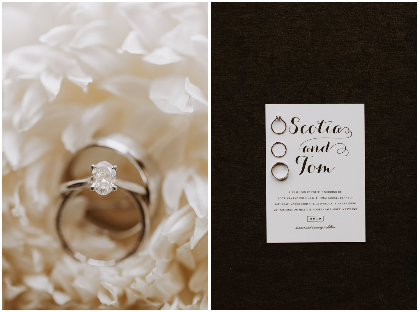 wedding rings in bouquet and wedding invitations