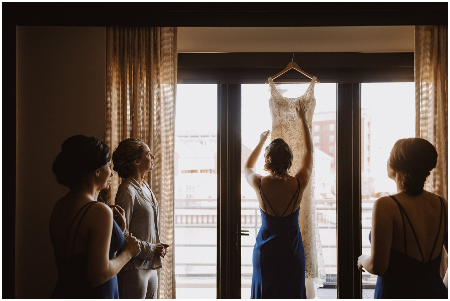 bridesmaids getting ready before a wedding