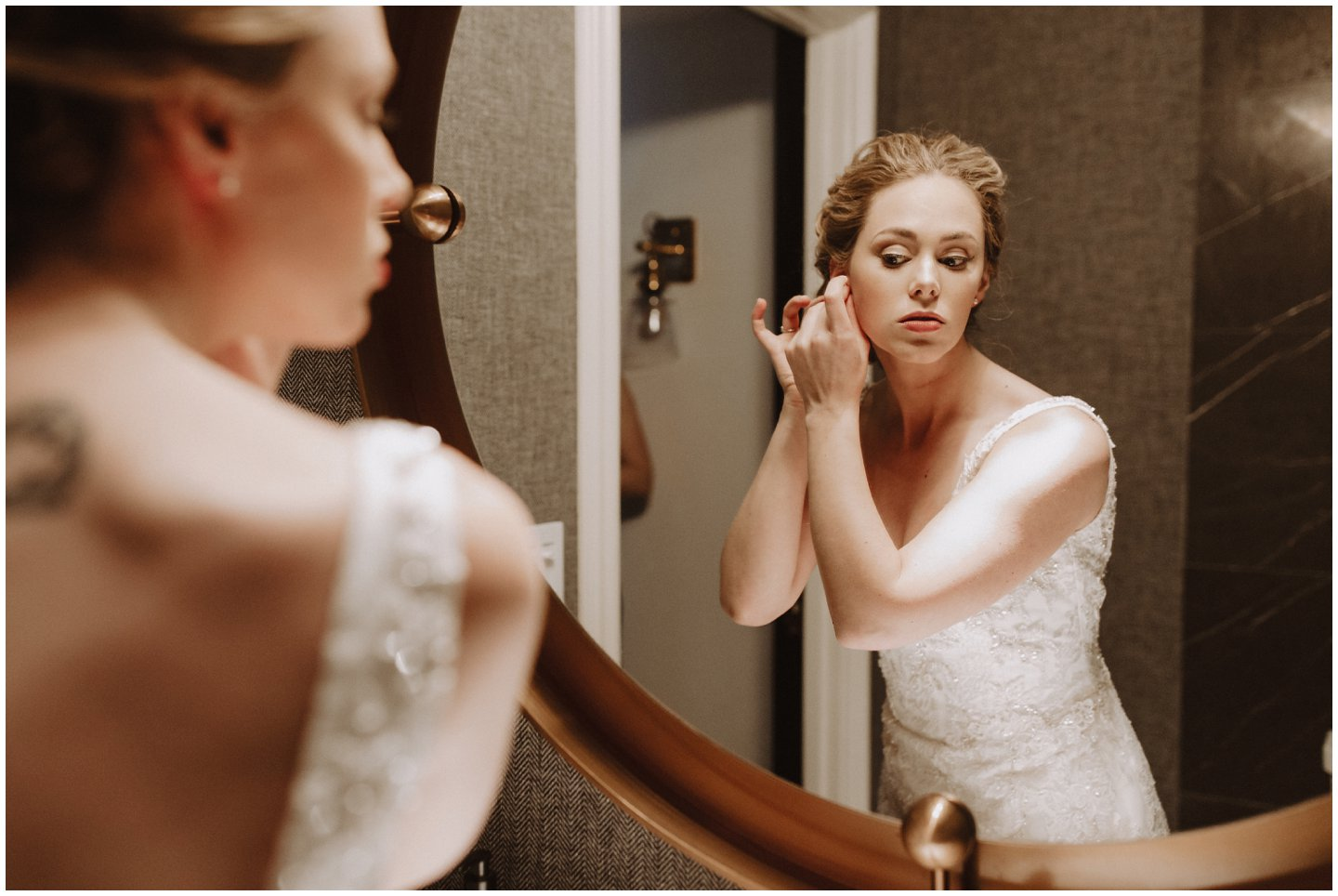 bride getting ready before her wedding