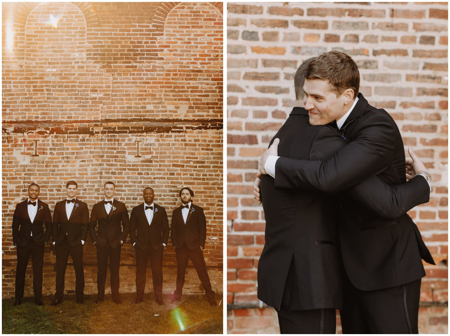 hip groomsmen photos with brick wall