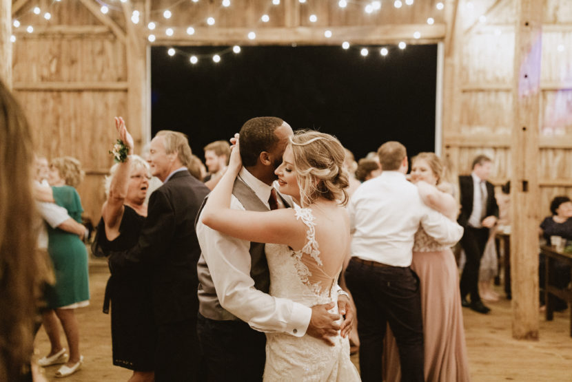 bride and groom on the dance floor in a pa wedding venue