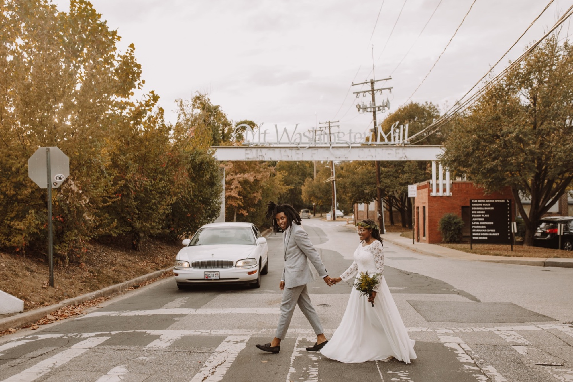 Bride and Groom Cross the Road at the Mt. Washington Mill Dye House
